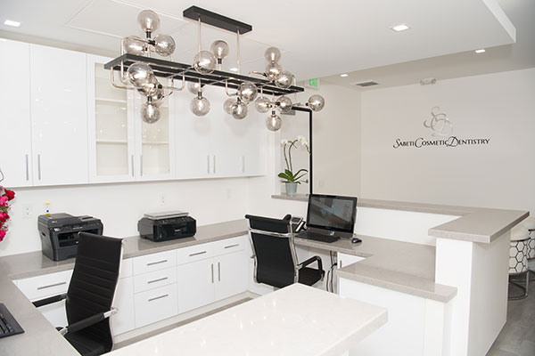 Office reception area at Sabeti Cosmetic Dentistry.